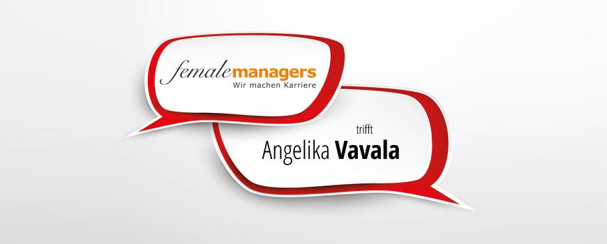 femalemanagers trifft Angelika Vavala - Die eigenen Potenziale im Blick - Sprechblasen mit Titel auf weißem Grund