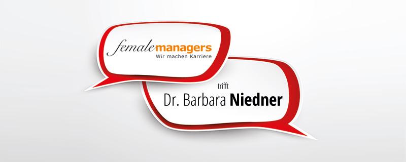 femalemanagers trifft ... Dr. Barbara Niedner - Was wir von den Menschenaffen lernen können - Sprechblasen mit Titel auf weißem Grund